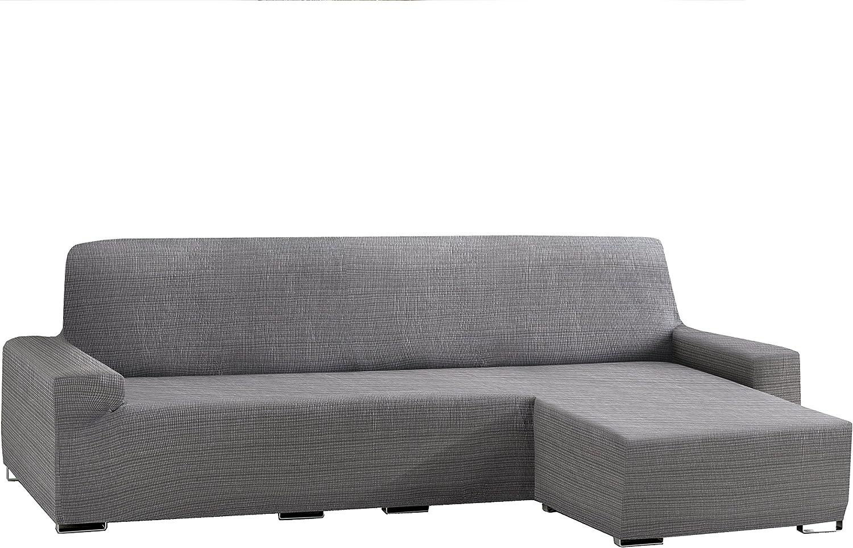 Eysa Aquiles bielástico Chaise Longue Corto Brazo Derecho, Polyester-Cotton, gris, 43x 37x 14cm