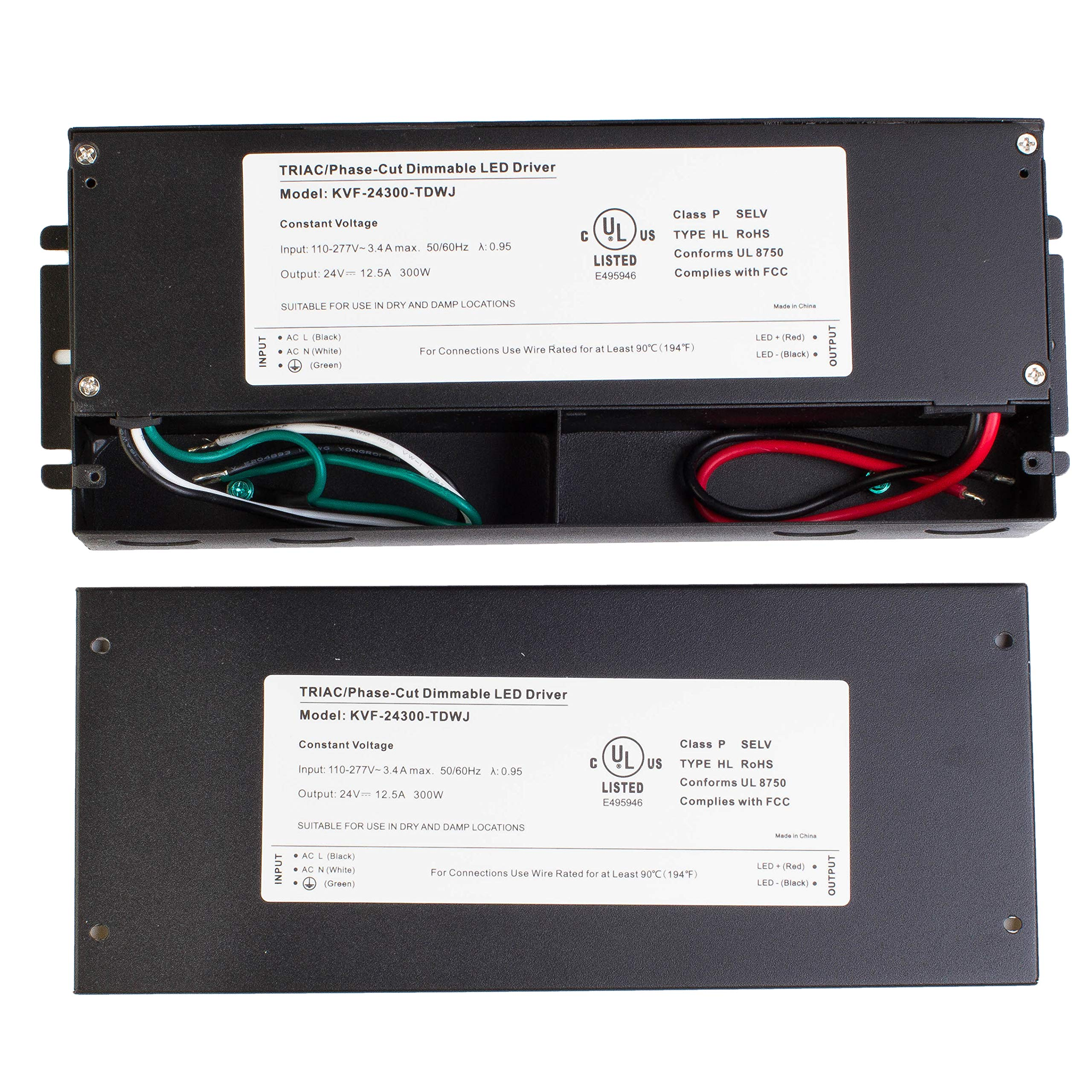 LEDupdates 24v UL Listed 300w Triac Dimmable Driver 110v - 277V AC to DC Transformer Constant Voltage Power Supply for LED Strip light Control by AC Wall Dimmer (24v 300w) by LEDUPDATES (Image #4)