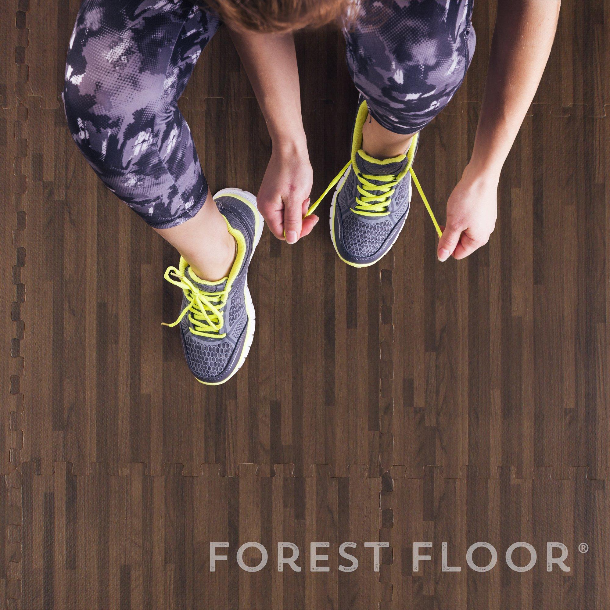 Forest Floor 3/8'' Thick Printed Wood Grain Interlocking Foam Floor Mats, 16 Sq Ft (4 Tiles), Walnut by Forest Floor (Image #6)