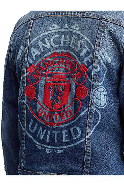 True Religion Mens X Manchester United Western Stretch Denim Trucker Jacket in Indigo