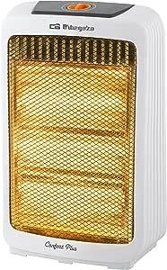 Orbegozo BP 0300 - Estufa de cuarzo, 2 niveles de potencia, sistema antivuelco, asa de transporte, refector alta brillantez, 1000 W