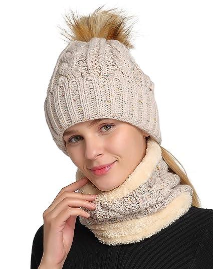 6093b87f1e1 Jeasona Women Winter Slouchy Beanie Warm Ski Snow Pom Pom Knit Hats Fleece  Lining (Oatmeal