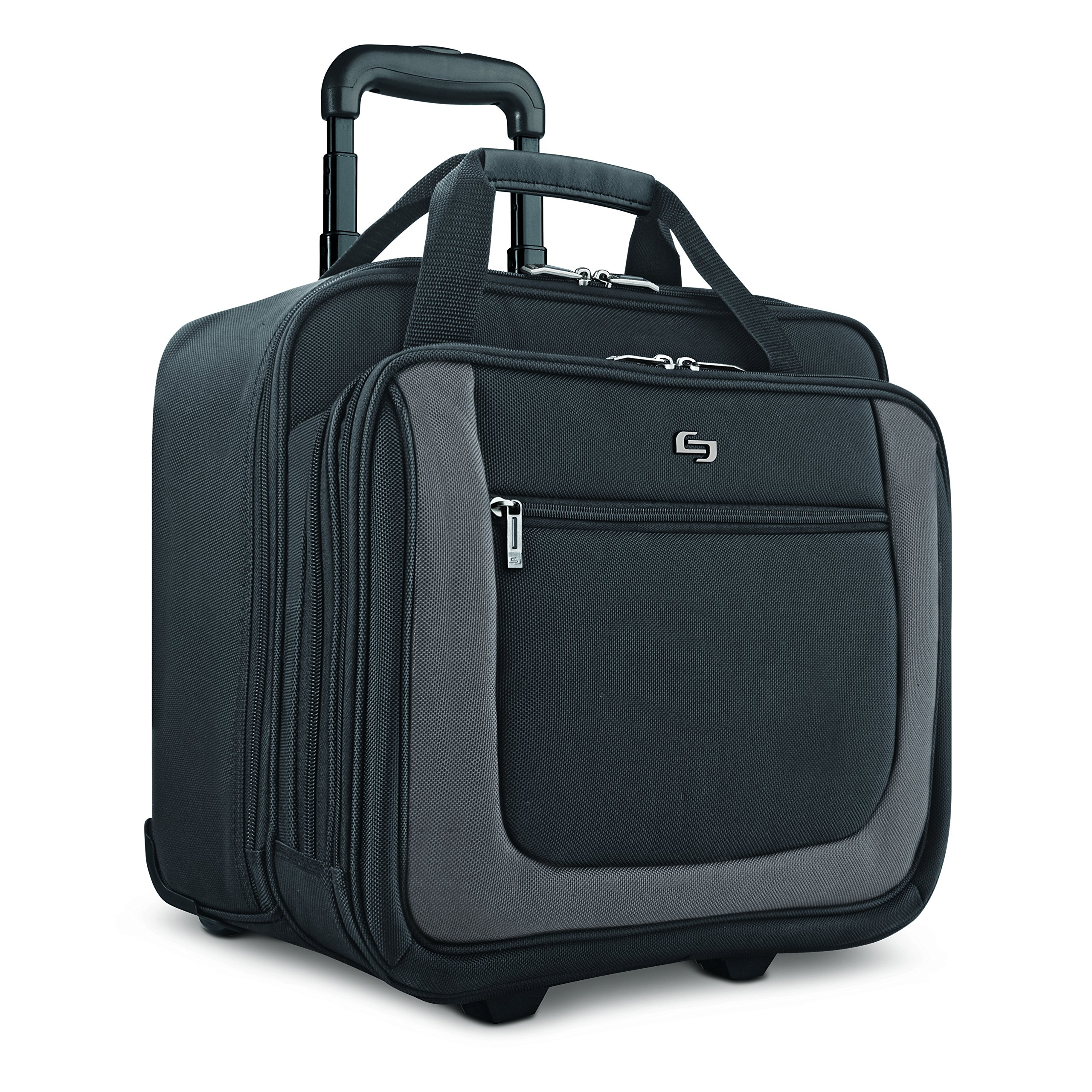 Solo New York Bryant Rolling Laptop Bag. Travel-friendly Rolling Briefcase for Women and Men. Fits up to 17.3 inch laptop. Amazon Exclusive Color Black/Grey by SOLO (Image #1)