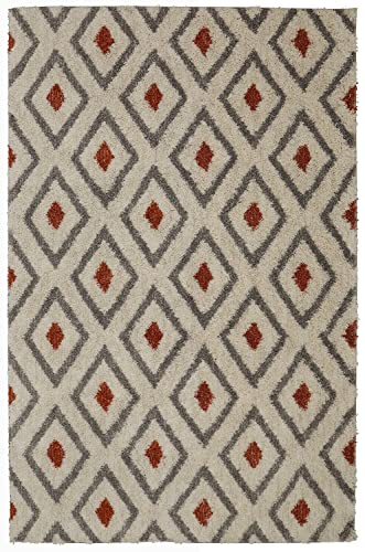 Mohawk Home Laguna Tribal Diamond Geometric Woven Soft Plush Shag Area Rug, 5 x8 , Coral