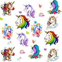 Oblique Unique® Einhorn Tattoo Set romantisch farbenfrohe temporäre Tattoos Unicorn Kinder Geburtstag