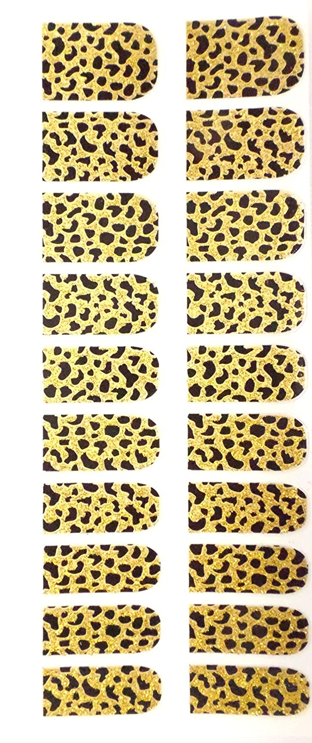 Animal Print Nail Foils, Pack of 20 wraps, Black Gold Leopard Pink Tease