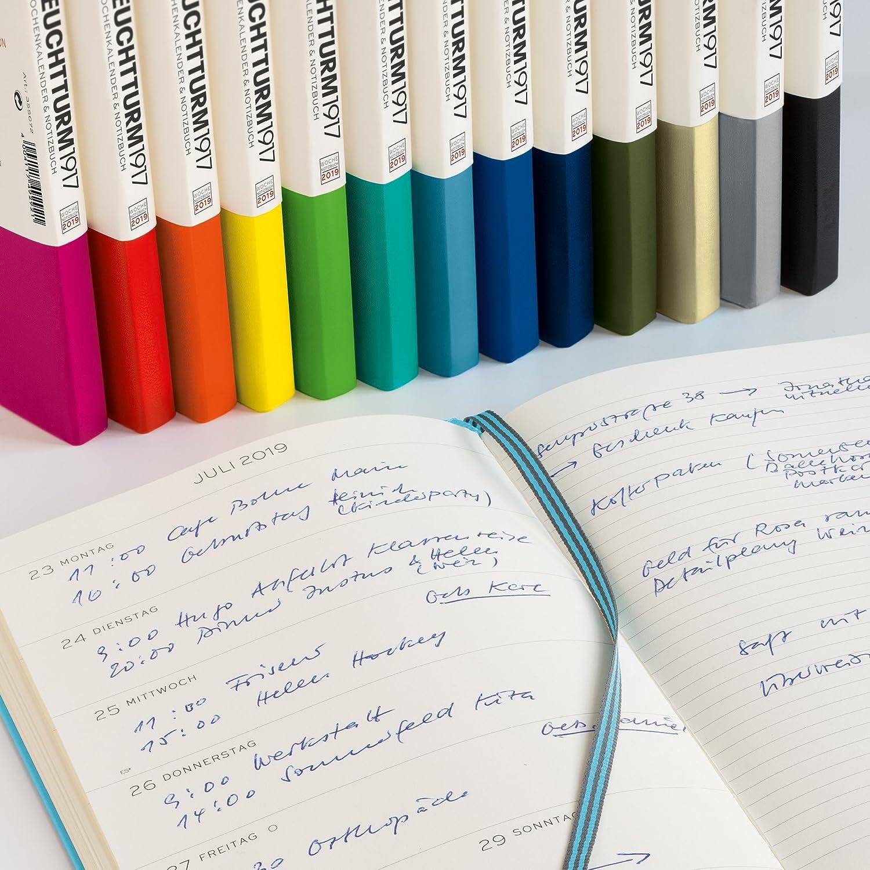 Leuchtturm1917 357726 Calendario semanal y cuaderno 2019, Alemán, Pocket (A6), color azul marino