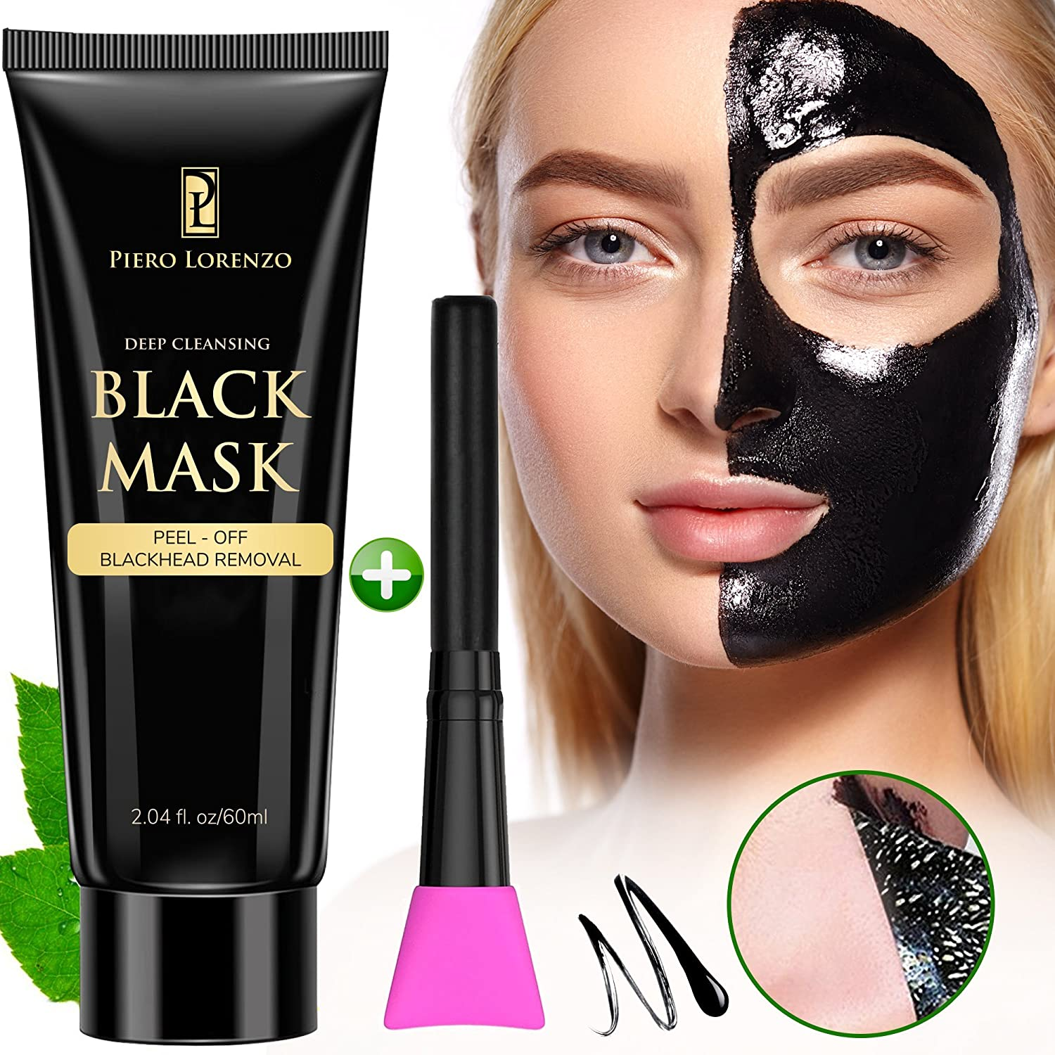 Blackhead Remover Black Mask Cleaner - Purifying Quality Black Peel off Charcoal Mask Best Facial Mask (1 Pack with Brush) Piero Lorenzo