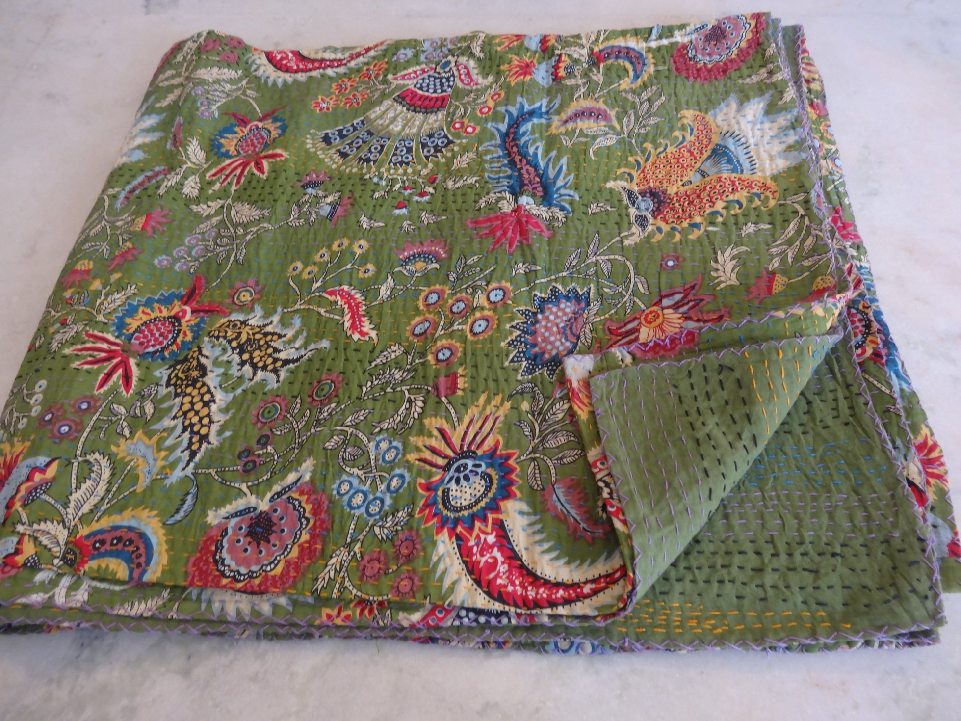 Tribal Asian Textiles 90''x108 Ethnic Queen Size Quilts Hippie Decorative Ralli Boho Throw Blanket Bedding Kantha Work Bed Cover Quilts 1122