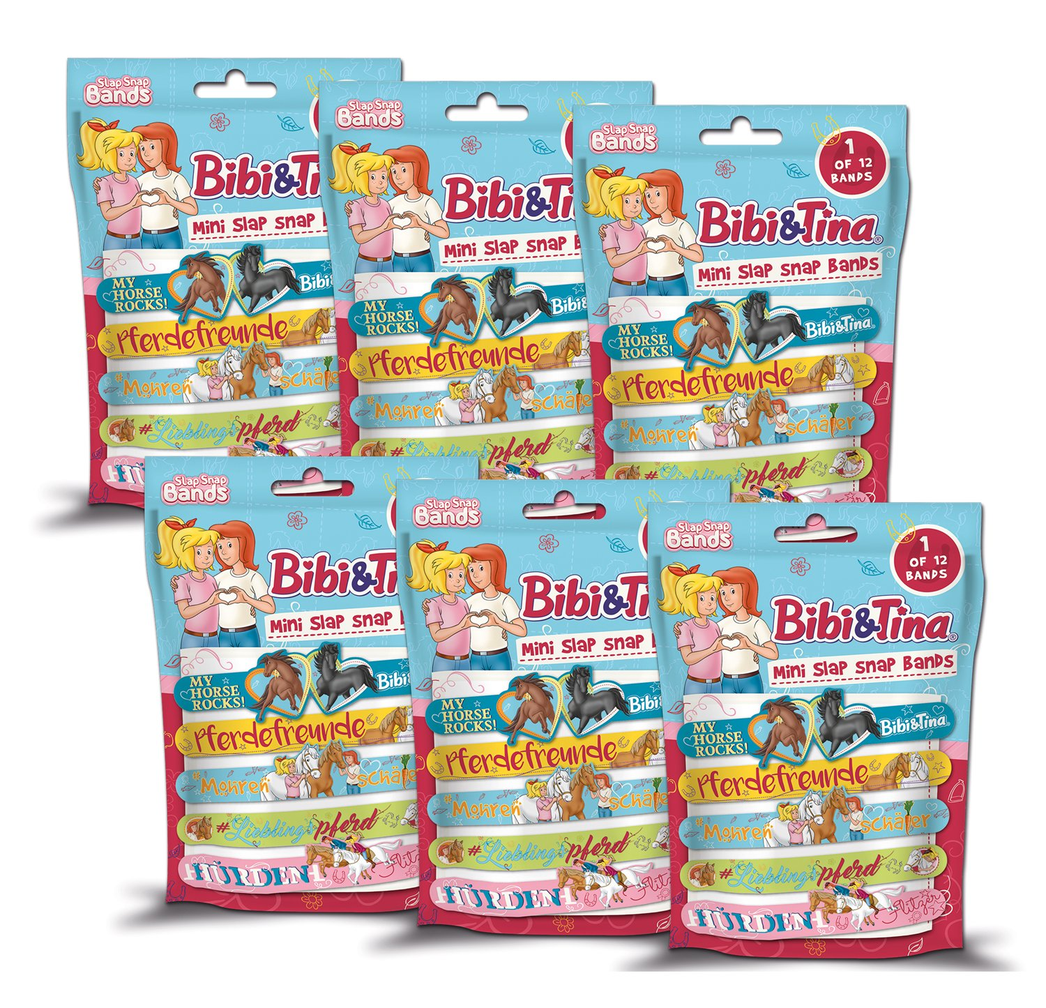 Craze 14363 Slap-Snap-Bands, Bibi und Tina, 6 Foilbags, Sortiert, Unisex-Child