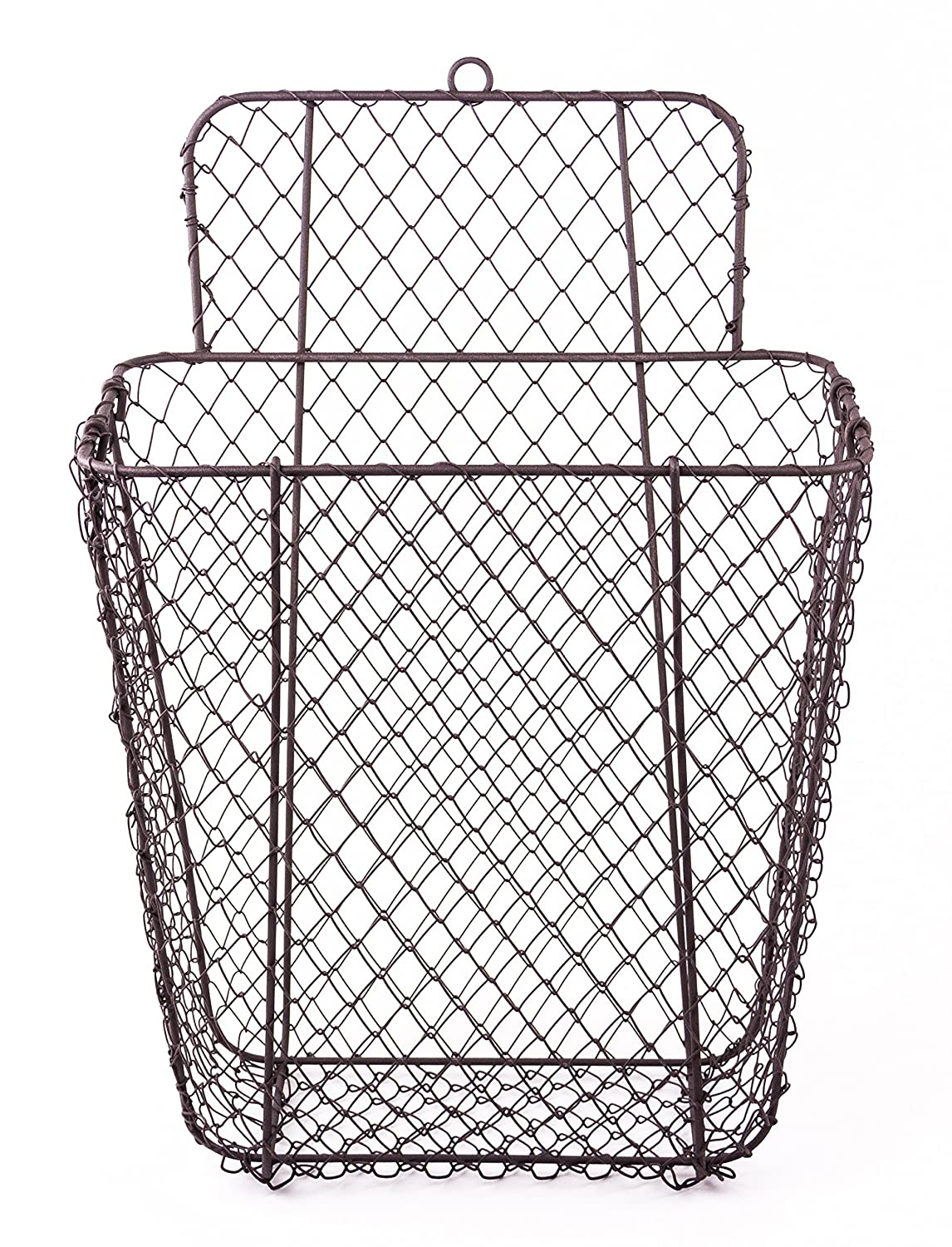 Rustic Hanging Wall Pocket Wire Mail/Storage Basket: Amazon.com ...