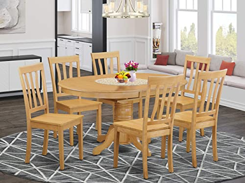East-West Furniture 7-Pcs dining room table set 6 Great wood chairs
