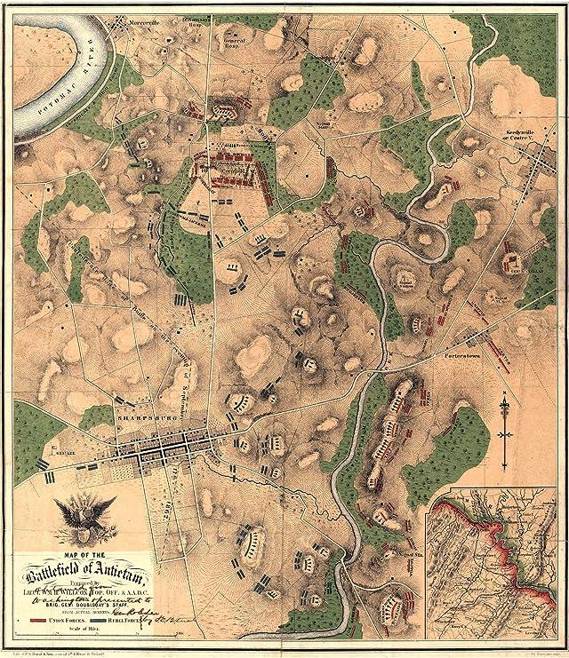 24x36 Vintage Reproduction Civil War Map of Battlefield of Antietam 1862