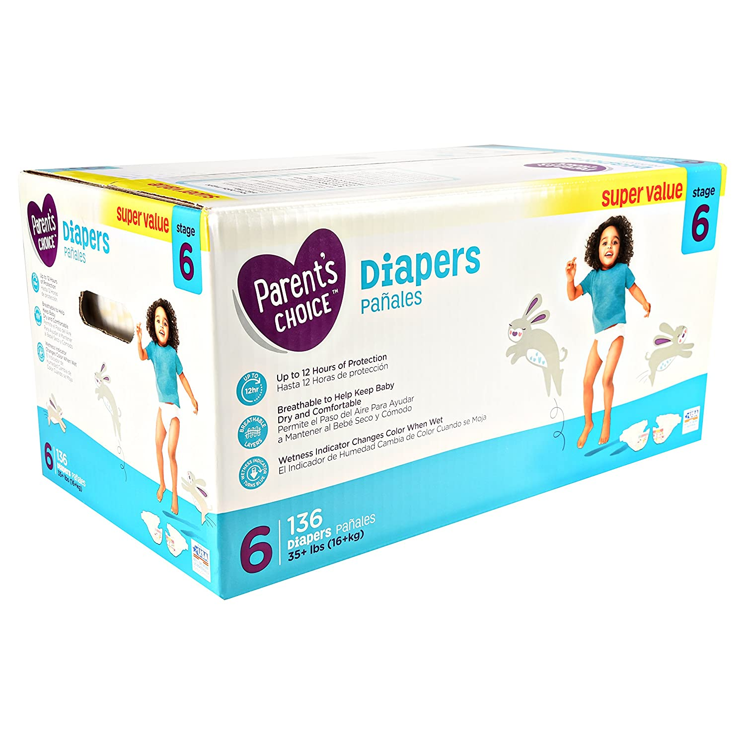 Amazon.com: Parents Choice Super Value Box Diapers, size 6, 136 Diapers by Parents Choice: Health & Personal Care