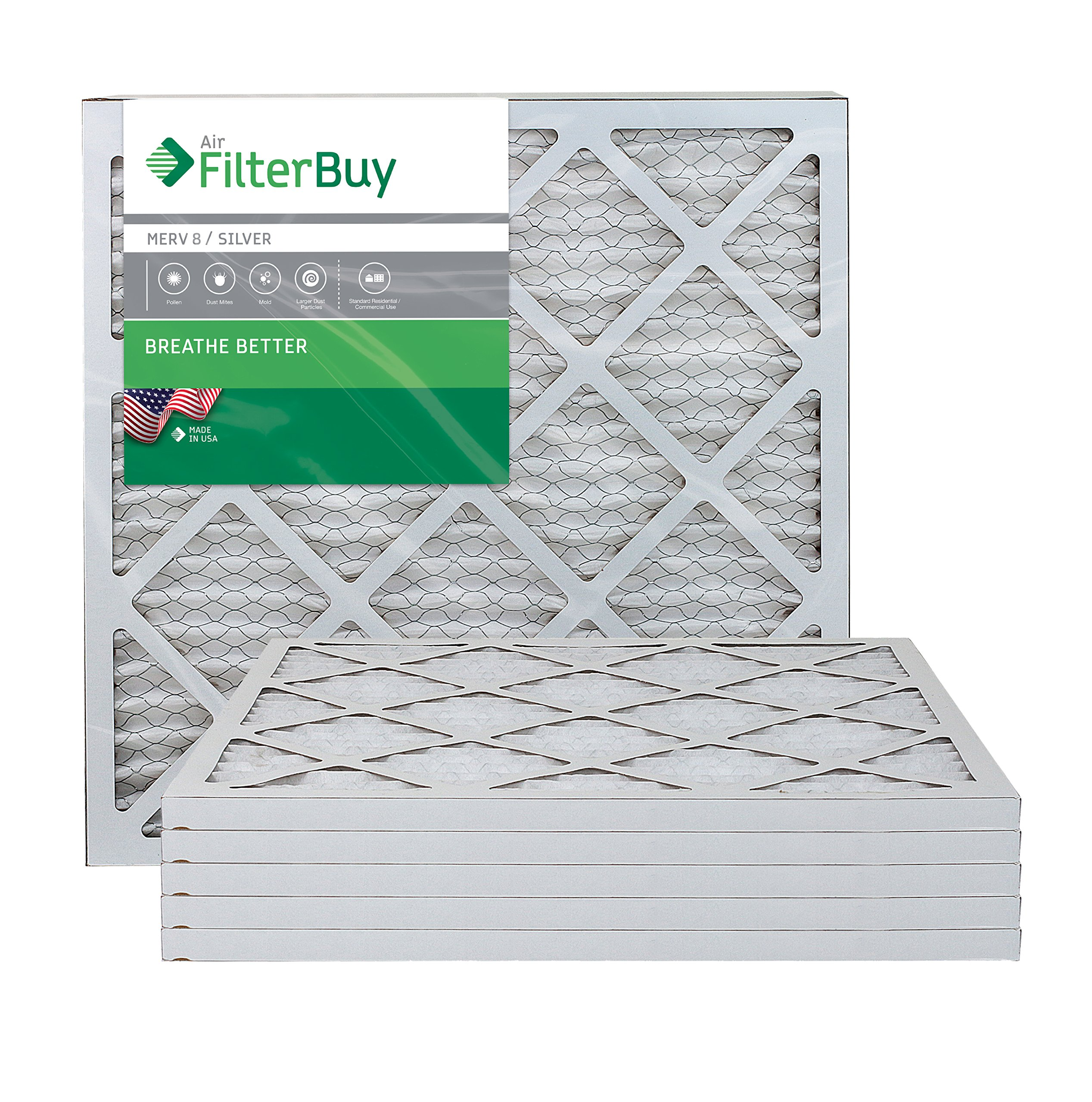 FilterBuy AFB Silver MERV 8 20x20x1 Pleated AC Furnace Air Filter. Pack of 6 Filters. 100% produced in the USA. by FilterBuy