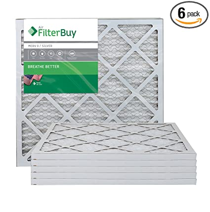 afb silver merv 8 18x22x1 pleated ac furnace air filter. pack of 6 ...