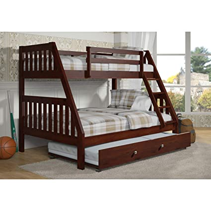 Amazon Com Donco Kids 501747 Twin Over Full Bunk Bed 44 Brown