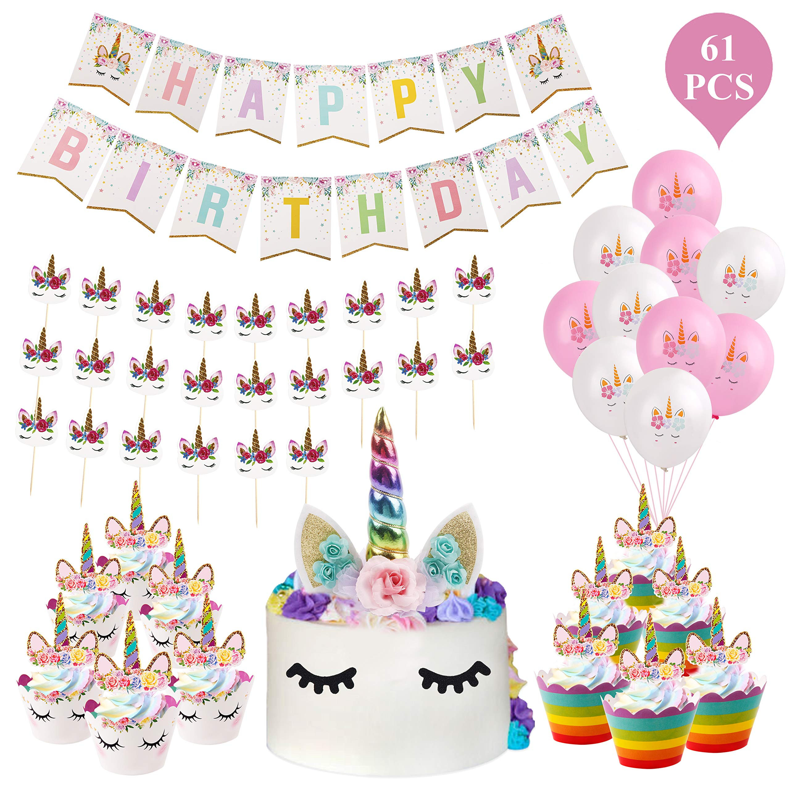 61Pcs Unicorn Cake Topper - Unicorn Horn Party Cake Decoration, Unicorn Cupcake Toppers, Unicorn Cupcake Wrappers, Banner, Unicorn Balloons for Birthday Party, Baby Shower (Unicorn Cake Topper) by QIFU (Image #1)