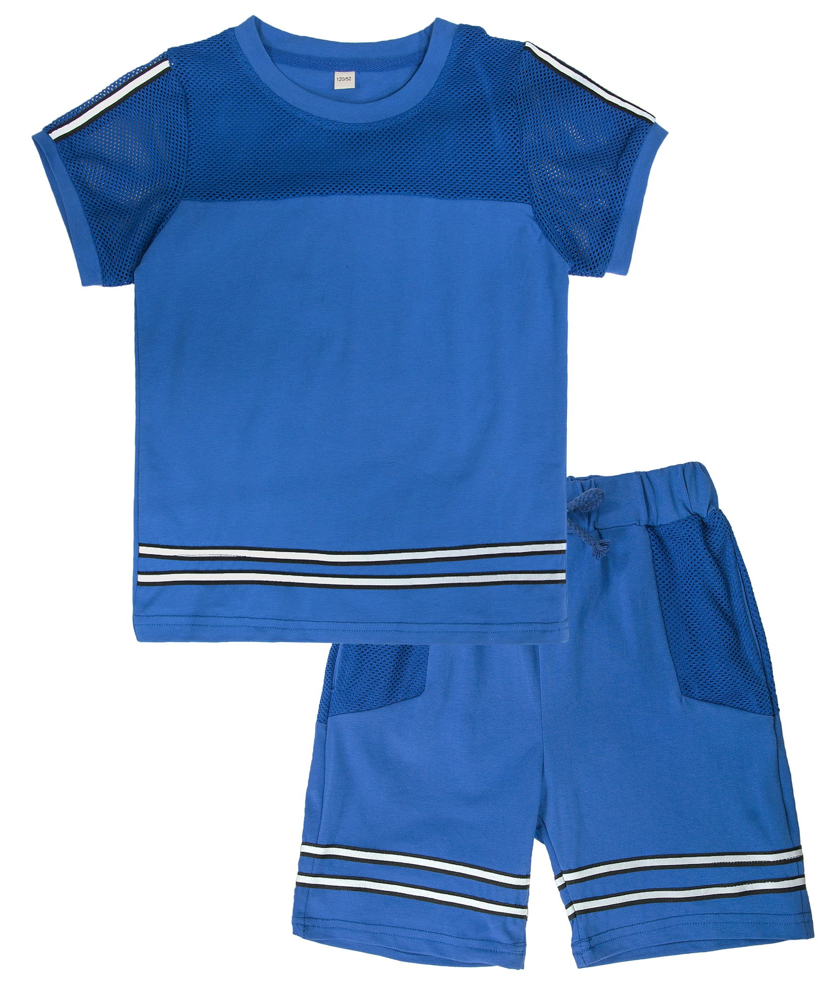 KISBINI Big Boys Breathable Summer Clothes Short Sleeve T-Shirt and Shorts Set Dark Blue 8T