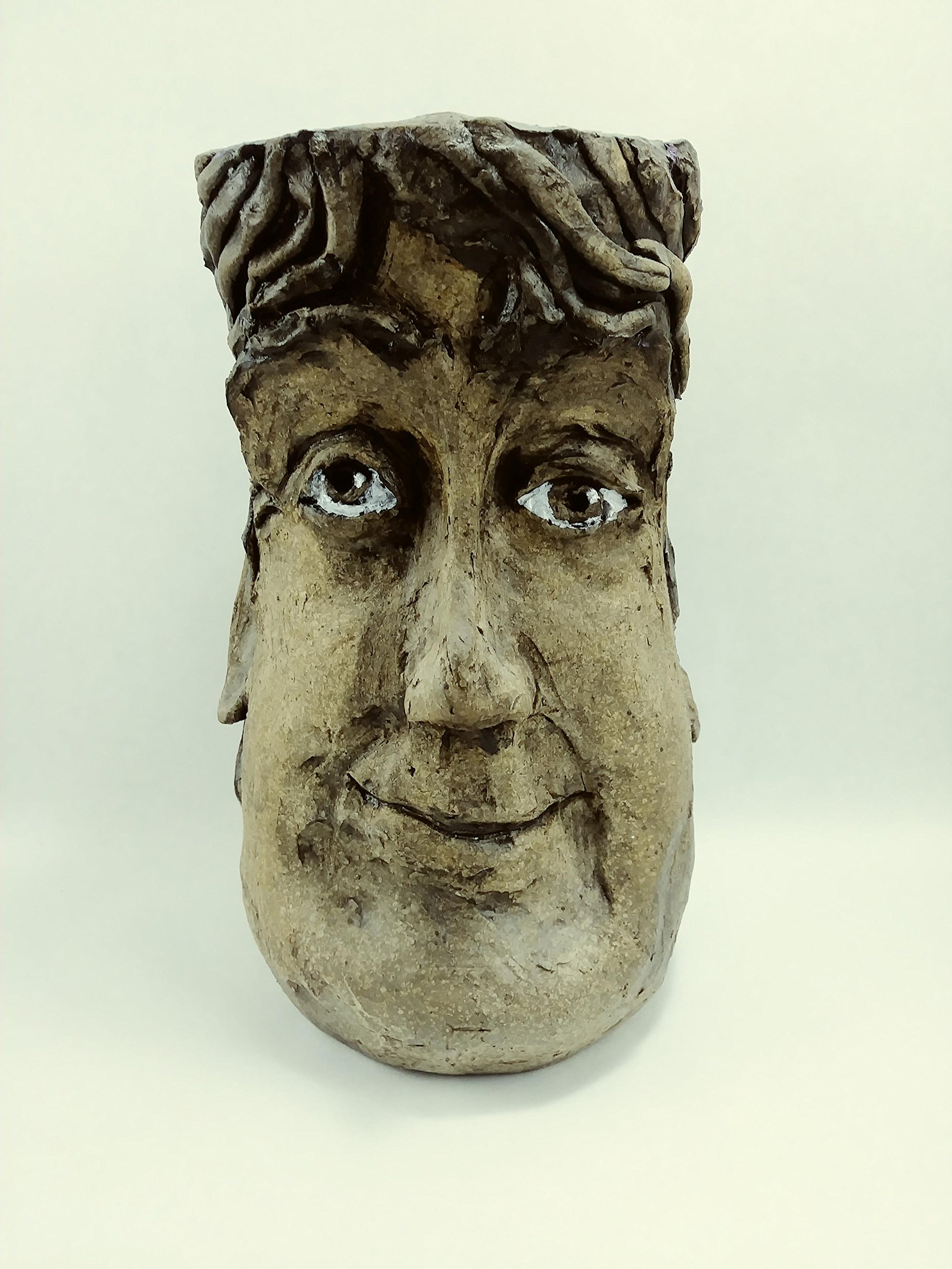 Aunt Chris' Pottery - ''Paul'' Face Vase - Heavy Head Pot - Hand Crafted Style - Dark Brown Hair - Rustic Stone Finish - When Sold There Will Not Be Another Like It!