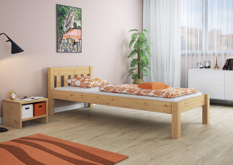 """Lit simple en pin massif bois 90x200cm 3/'x6/'7/"""" + MATELAS LIVRAISON GRATUITE"""