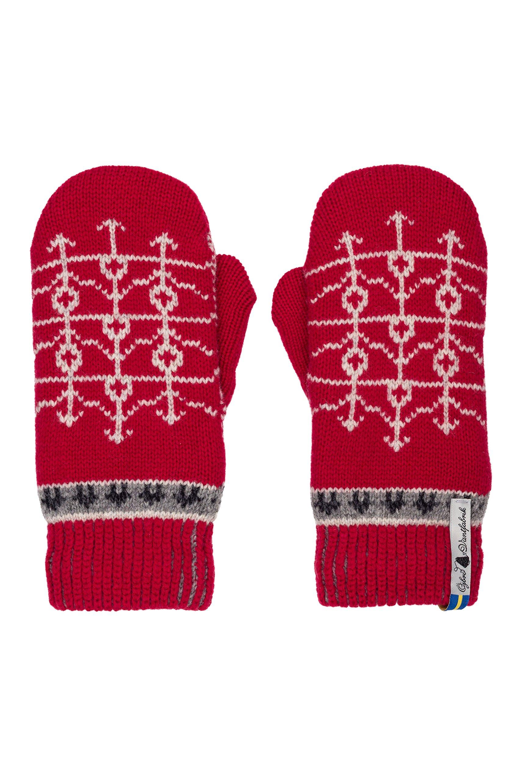 Öjbro Swedish made 100% Merino Wool Soft Thick & Extremely Warm Mittens (Medium, Ekshärad Röd)