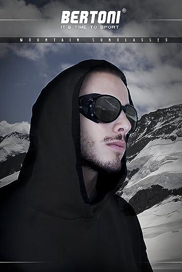 BERTONI Gafas de Sol Polarizadas de Montaña Glaciar Esqui Alpinismo Trekking - mod. Cortina by Italy - Color Negro Brillante (Polarizada Gris - Azul ...