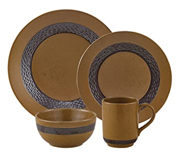 Molasses and Espresso Sawmill Dinnerware Set Durable Stoneware  sc 1 st  Amazon.com & Amazon.com | Molasses and Espresso Sawmill Dinnerware Set Durable ...