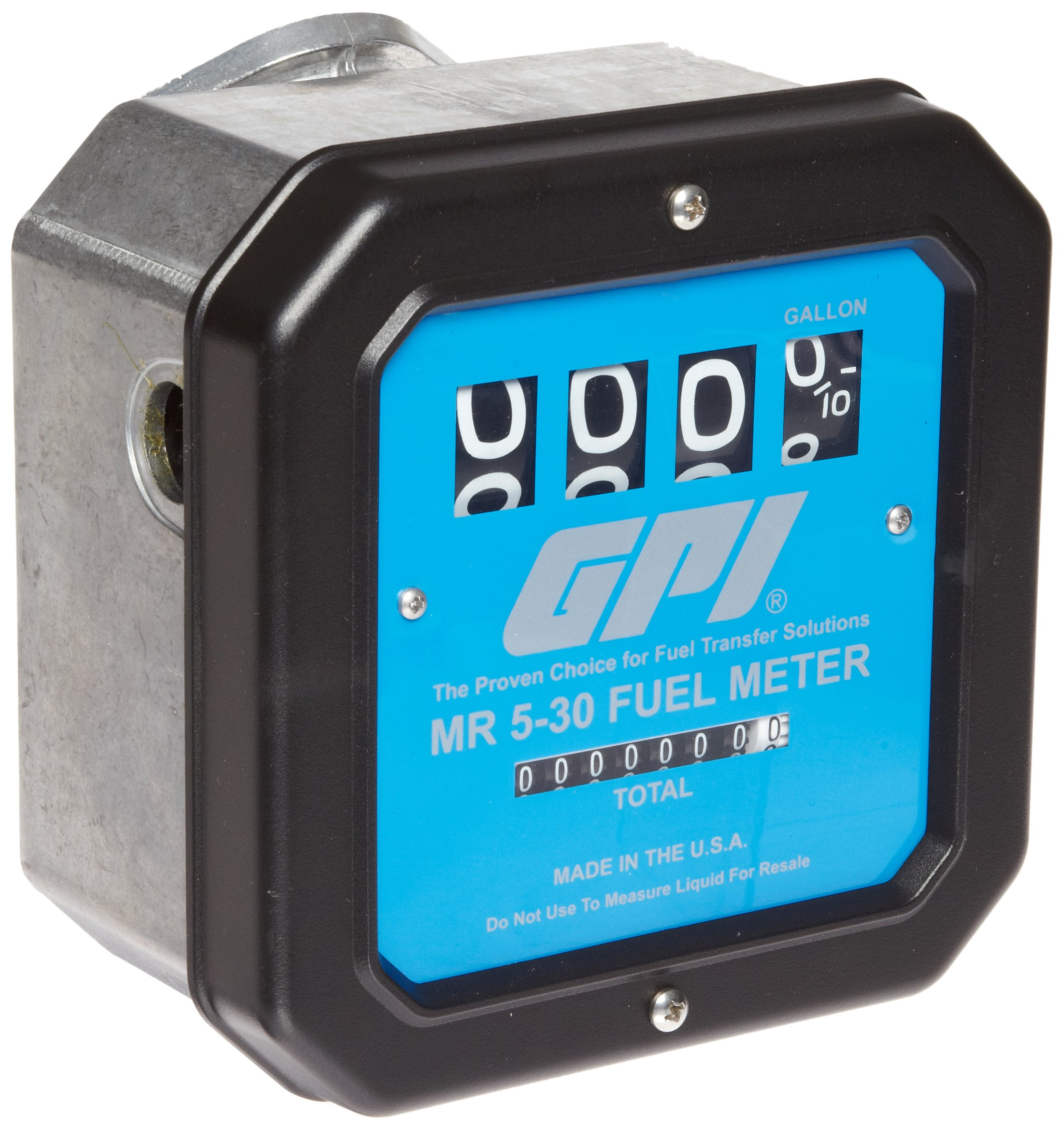 GPI 126300-01, MR530-G6N Mechanical Disk Fuel Flowmeter .75-Inch Inlet/Outlet, 5-30 GPM, 4-Digit Batch Display, Non-Resettable Cumulative Total, +/-2 Percent Accuracy