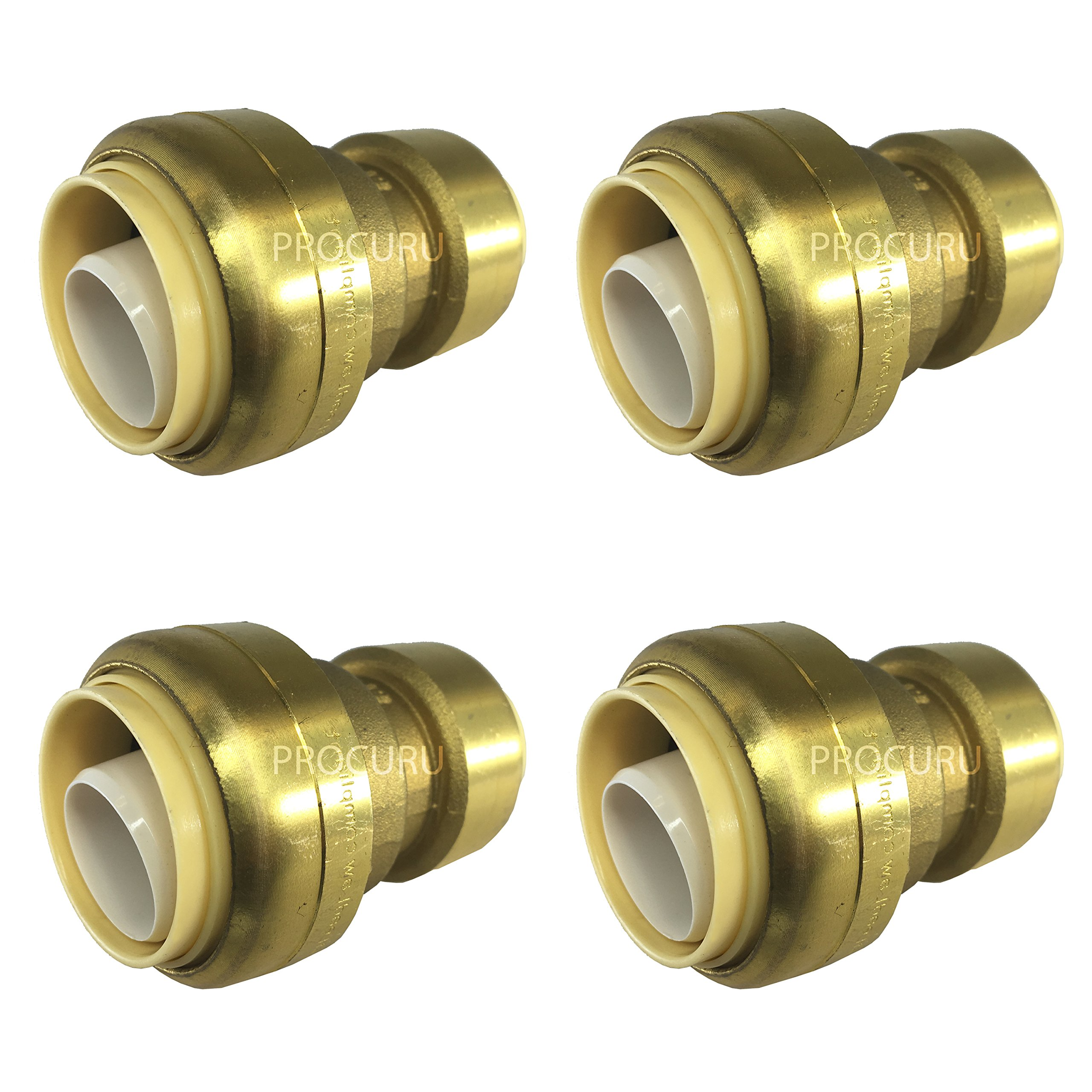 PROCURU PushFit 3/4'' x 1/2'' Reducing Coupling - Plumbing Fitting for Copper, PEX, CPVC, Lead Free Certified (3/4'' x 1/2'', 4-Pack)