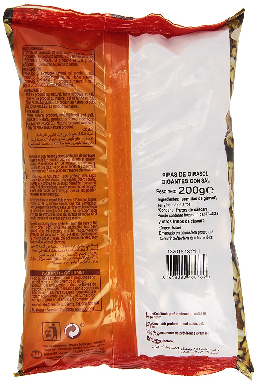 Gourmet Frutos Secos Pipas de Girasol Gigantes con Sal - 200 g: Amazon.es: Amazon Pantry