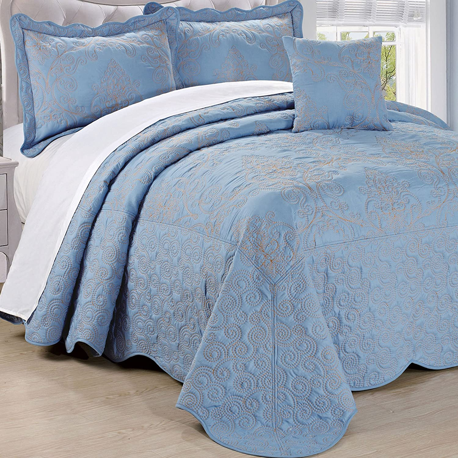 Home Soft Things Serenta Damask 4 Piece Bedspread Set, King, Forget Me Not