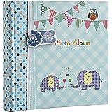Álbum de fotos grande para bebés y niños, con apartados para notas, espacio para insertar 200 fotos de 15,2 x 10,2cm, diseño con elefantes, ideal para regalo, color azul, Arpan