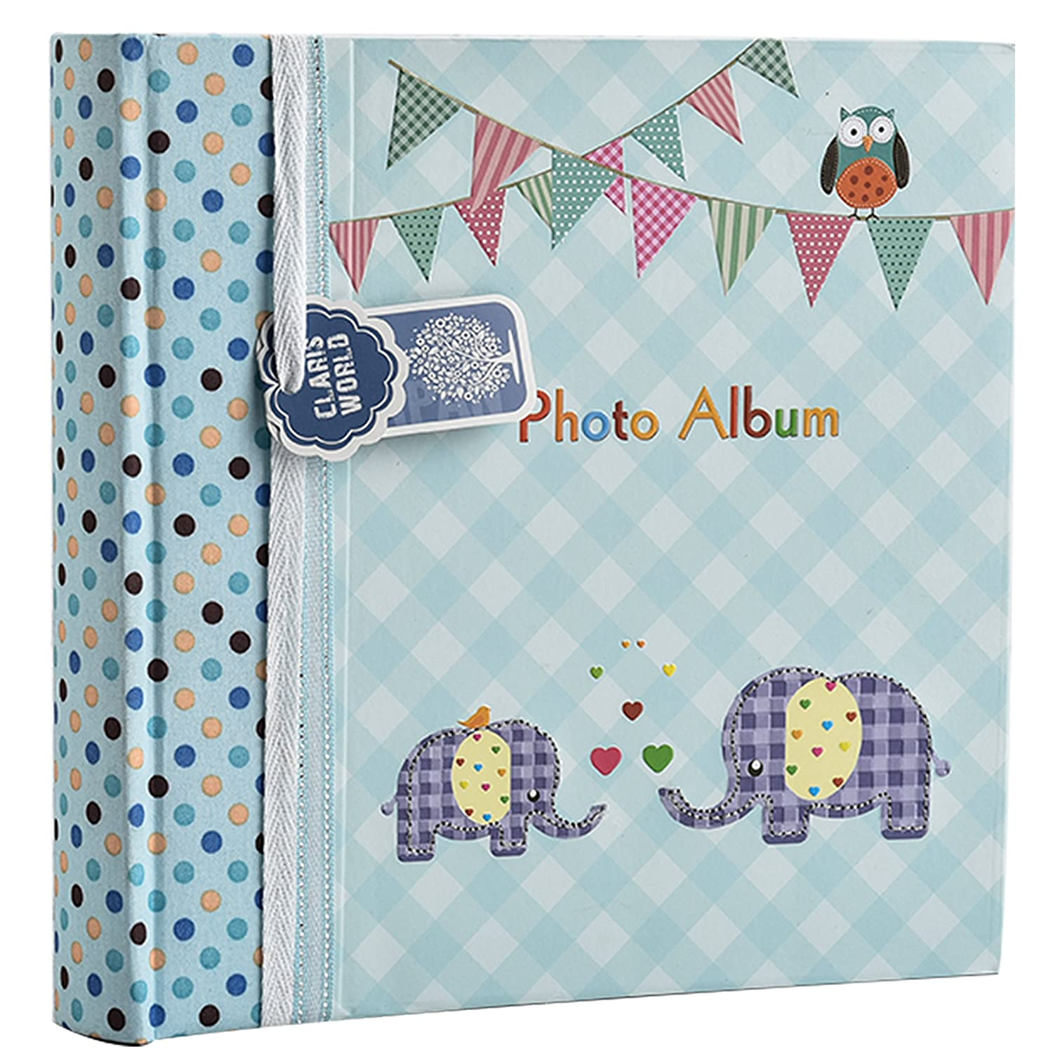 Arpan Large Baby Boy Blue Memo Slip In Photo Album 200 6x4'' Photos - Elephant Kids -Ideal Gift BA-9851
