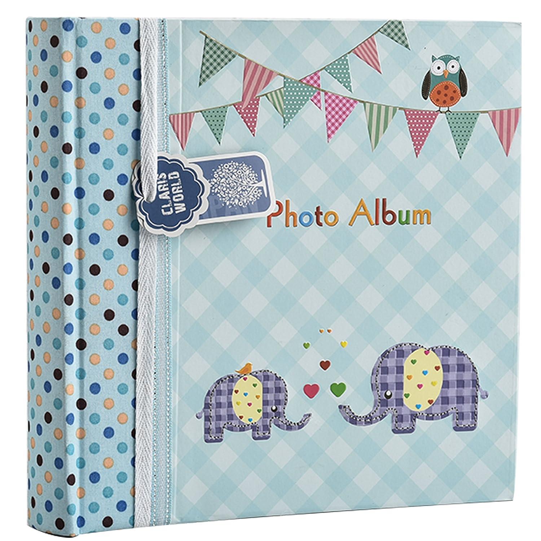 Großes, babyblaues Einsteckalbum für 200 6 x 4 Babybilder von Arpan, Elefantenkinder, ideales Geschenk Großes BA-9851