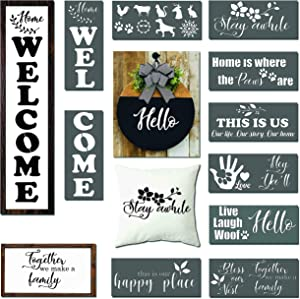 Stencils for Painting On Wood, Vertical Welcome Stencil, Reusable Large Letter Stencils, Farmhouse Decor, Animals, Pets, Paw Prints, Flowers, Patio Decor for Home, DIY Front Door Porch Hello Signs