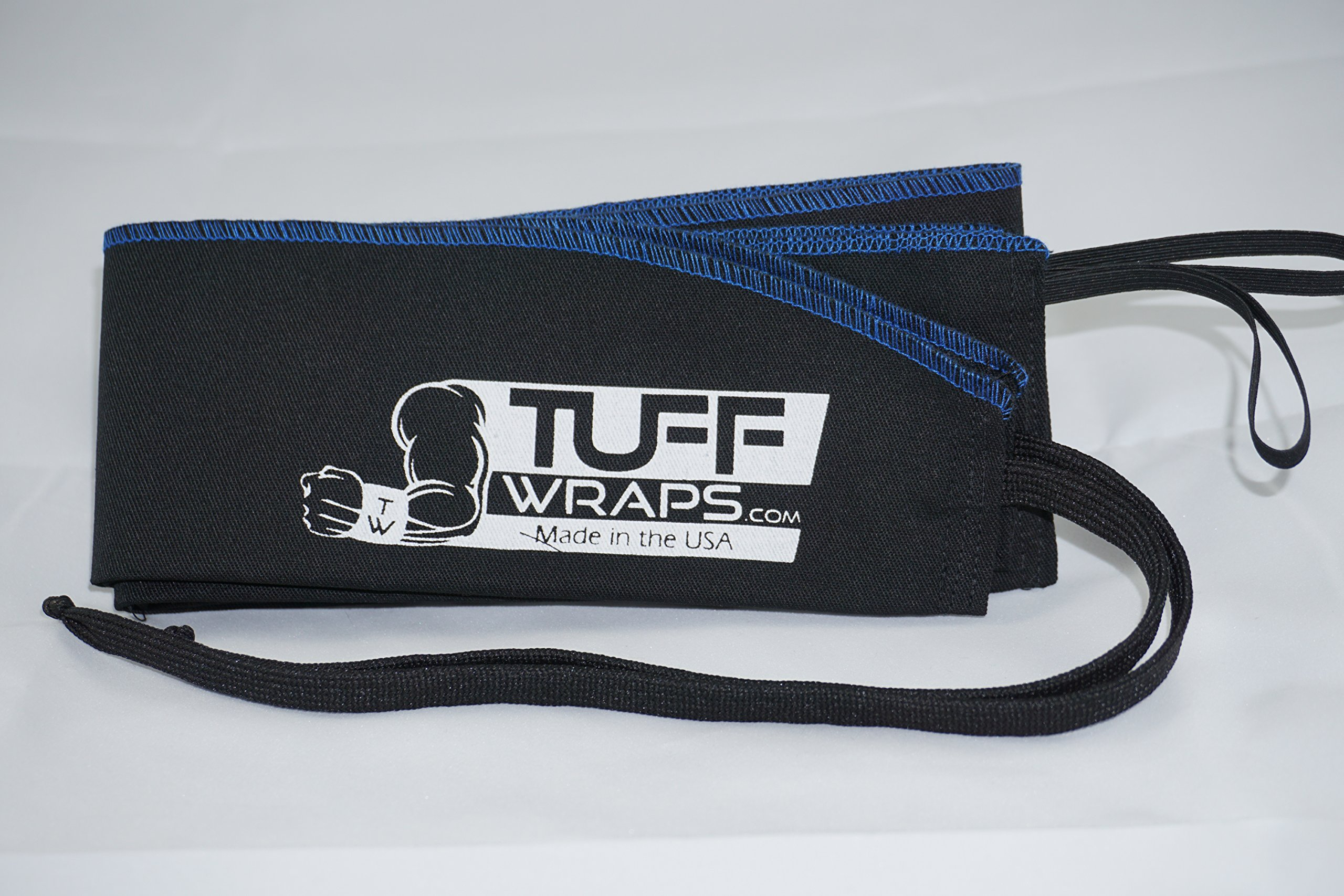 Blue/Black Tuffwraps: Wraps for Crossfit, Olympic Weightlifting, Power Lifting. Innovative Thumb Loop for Easy Application