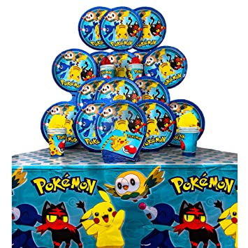 B There Party Pack Bundle Of Pokemon Party Supplies Seats 16 Napkins Plates Cups And