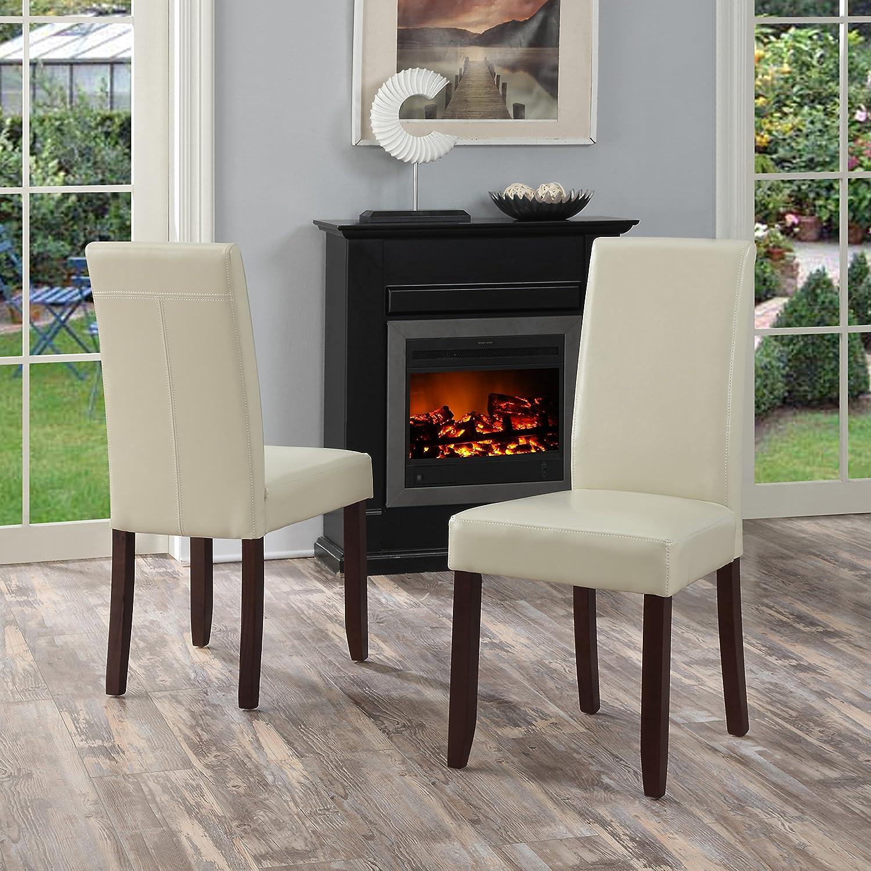 Amazon Simpli Home Acadian Parson Dining Chair Satin Cream