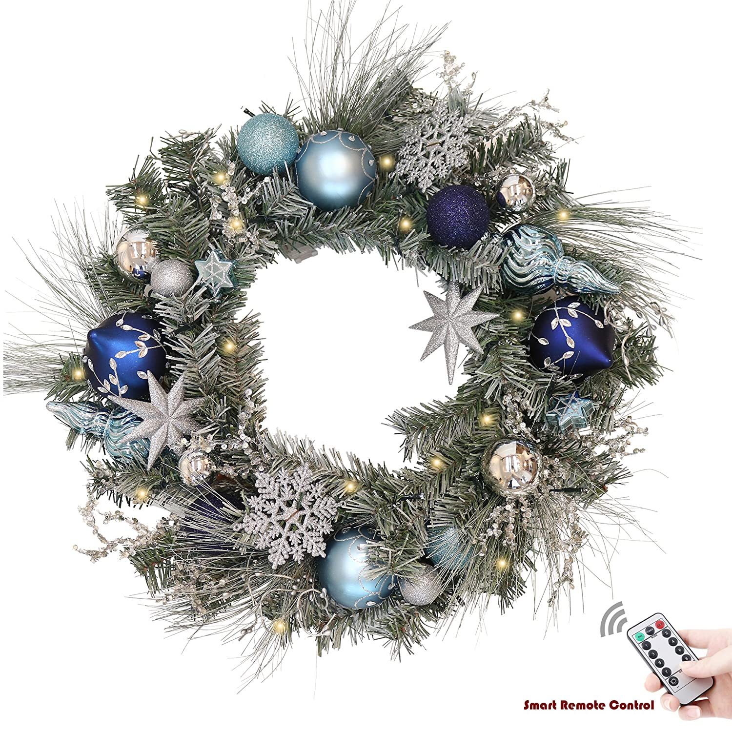 Valery Madelyn Pre-Lit 24 Winter Wishes Silver Blue Christmas Wreath Ball Ornaments Snowflakes, Battery Operated 20 LED Lights