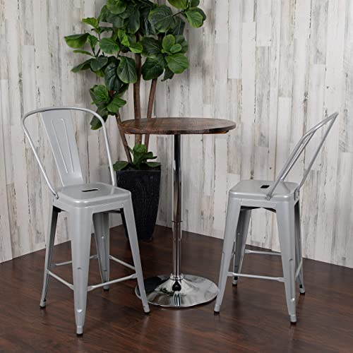 Flash Furniture Commercial Grade 24″ High Silver Metal Indoor-Outdoor Counter Height Stool