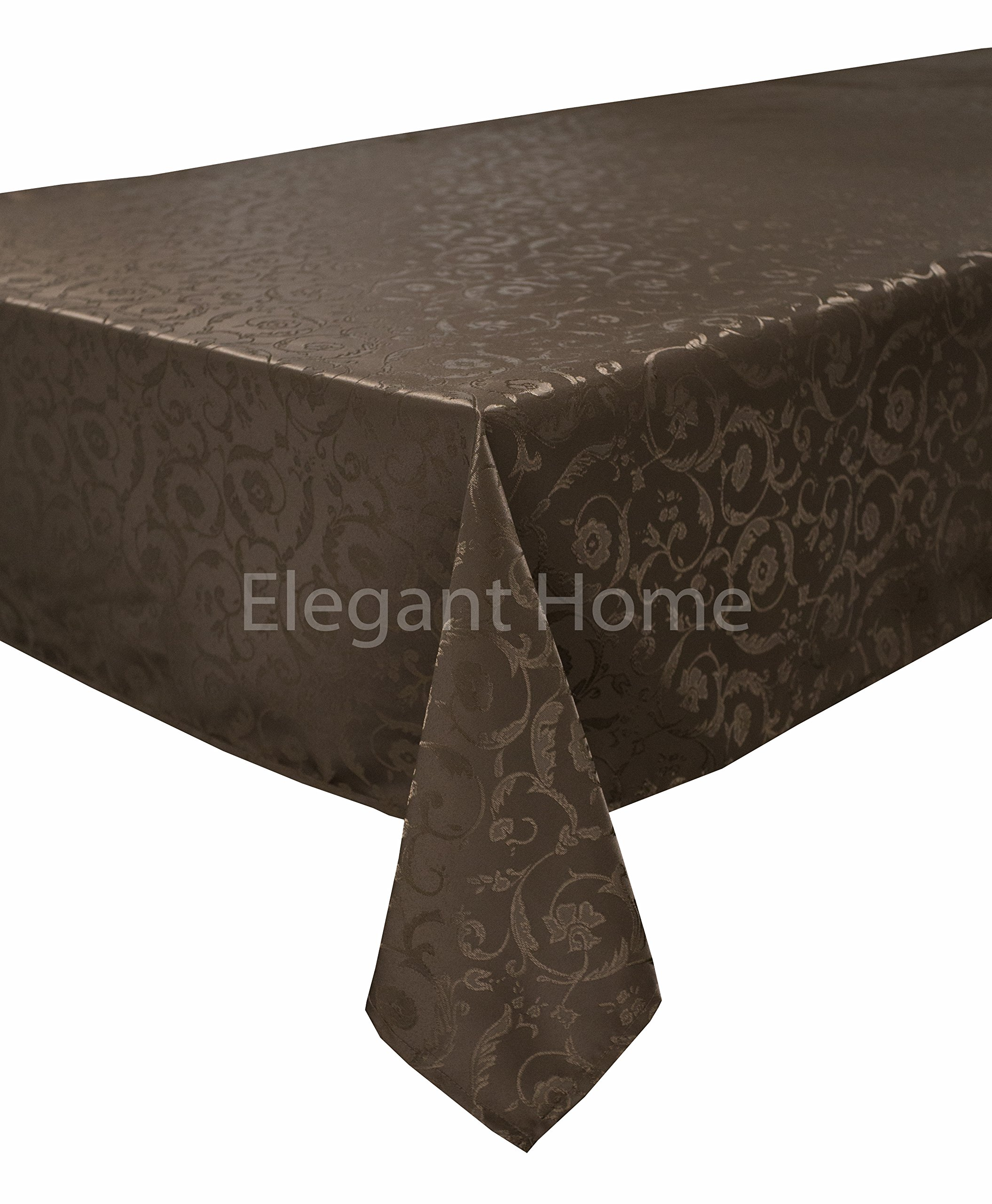 Elegant Home Dark Brown Coffee Chocolate Floral Jacquard Rectangle Tablecloth Heavy Weight Fabric Table Cover for Kitchen Dinning Tabletop Linen Decor (60'' X 104'')