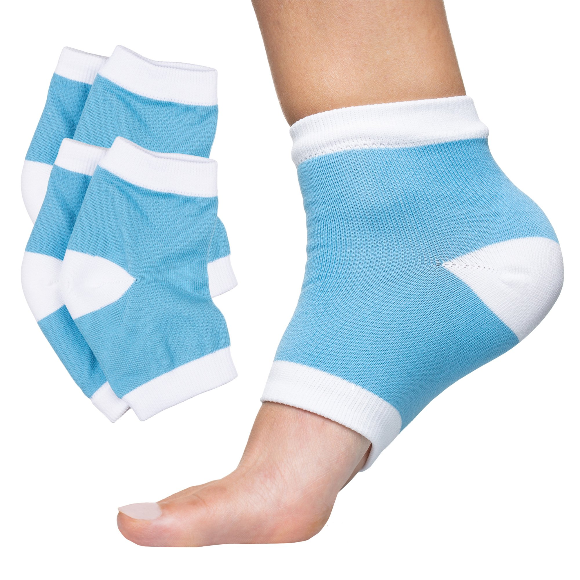 ZenToes Moisturizing Heel Socks 2 Pairs Gel Lined Toeless Spa Socks to Heal and Treat Dry, Cracked Heels While You Sleep (Cotton, Blue) by ZenToes