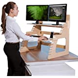 Dual Monitor Standing Desk Converter by Well Desk | Adjustable Height | Easy Setup