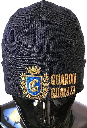 OUTLET MILITARY Cappello Tondo in Maglia Blu Navy