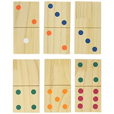 Hey! Play! Giant Wooden Dominoes Game Set (28 Piece): Toys & Games