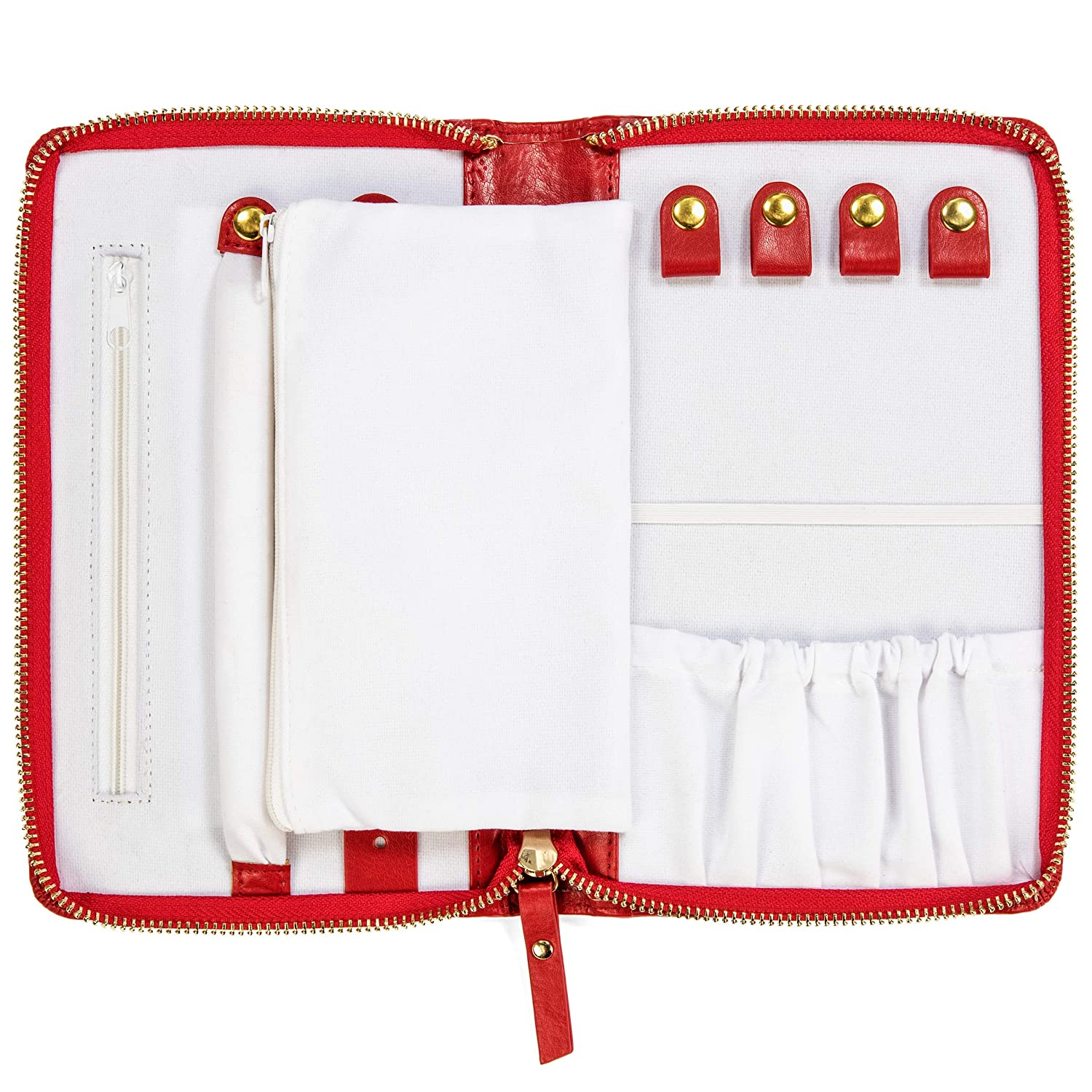 Compact Full Zip Travel Jewelry Organizer for Necklaces Bracelets and Rings Red