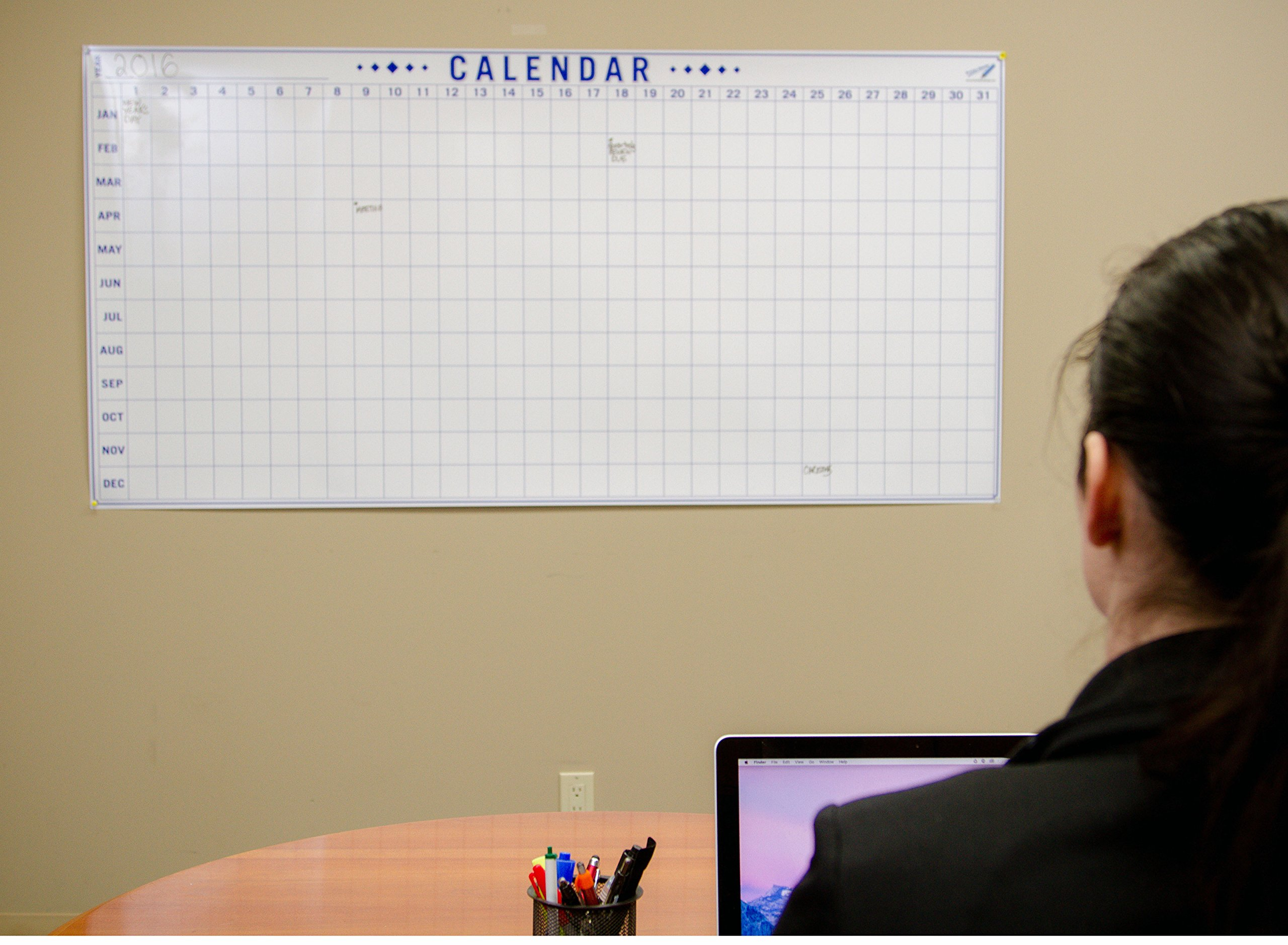 Dry Erase Julian Date Calendar - 36 x 72 Large Dry Erase Wall Calendar - Large Wall Calendar - Reusable Annual Calendar - Wall Planner with Vertical Dates and Horizontal Months by Oversize Planner by ABI Digital Solutions (Image #4)