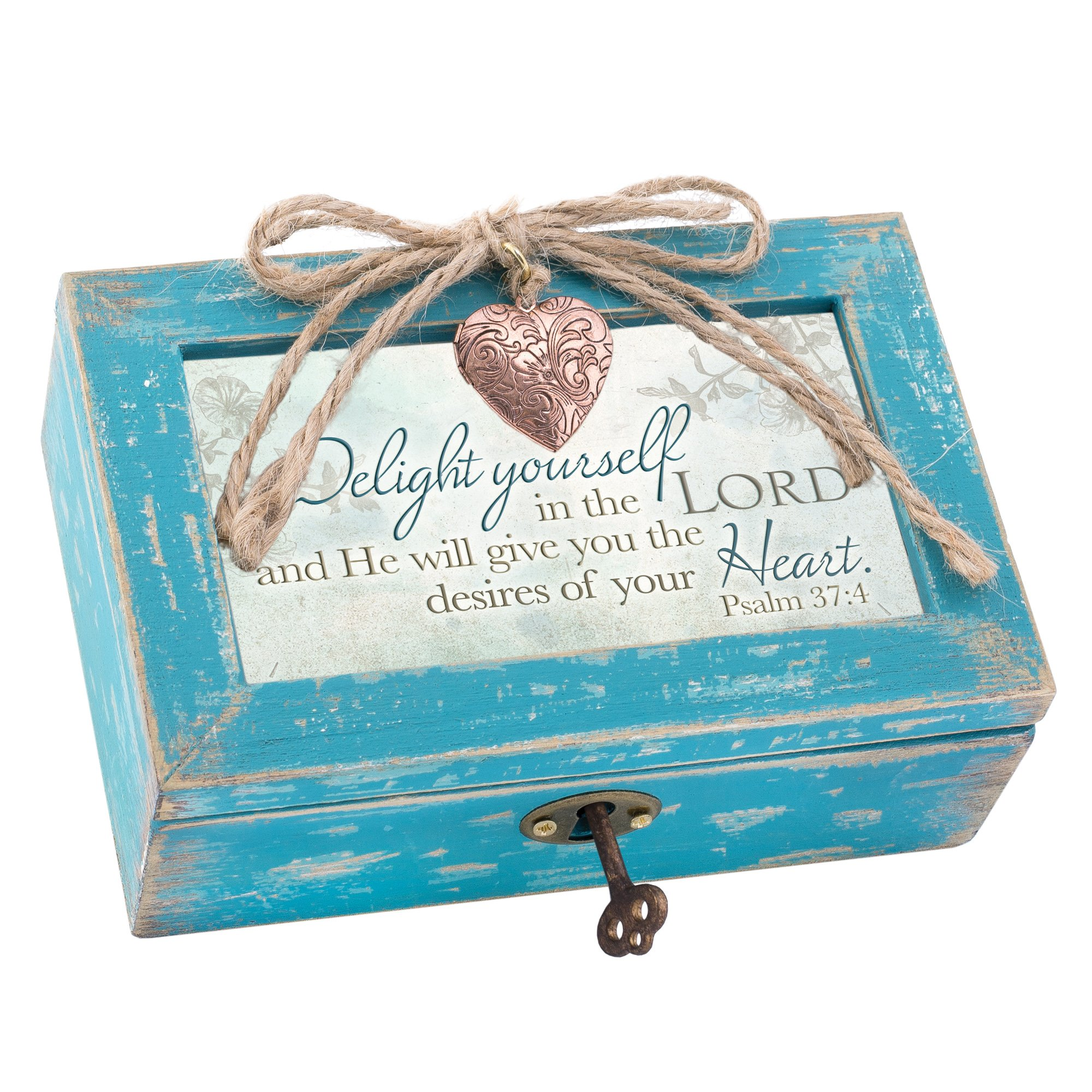 Cottage Garden Delight Yourself in the Lord Teal Wood Locket Jewelry Music Box Plays Tune We Have a Friend in Jesus