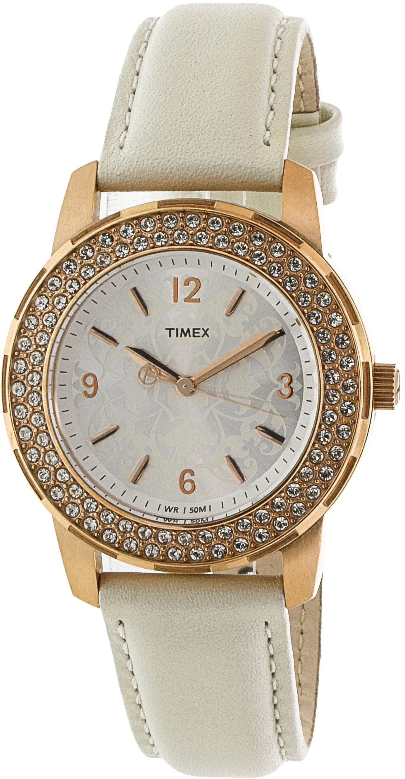 Timex Women's Style Premium T2P400 Rose-Gold Leather Japanese Quartz Fashion Watch